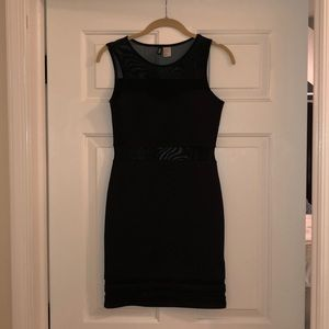 H&M Black Fitted Dress with Mesh!